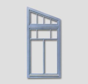 Fenêtre diagonale avec un élément supplémentaire supérieur et des barres au fenêtres, couleur: bleu