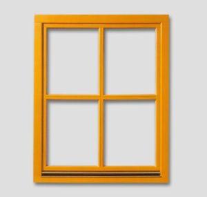 Fenetre avec une barre en bois verticale et une barre horizontale authentique couleur: afromozia