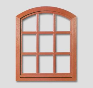 Fenêtre en baie segmentaire couleur: vitrage brun du bois vernis: meranti