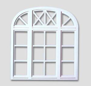 Fenêtre en baie de panier avec des barres aux fenêtres couleur: blanc