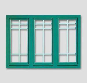 Fenêtres de 3 pièces, RAL-vert avec des barres aux fenêtres blanches à l'intérieur du vitre