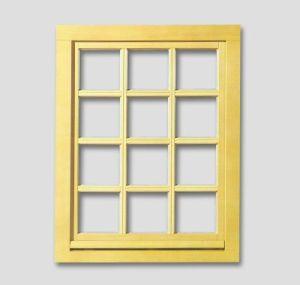 Fenêtre avec le carré, barres aux fenêtres authentiques, couleur: vernis brillant