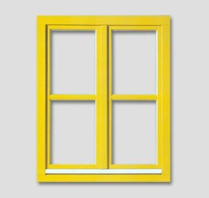 Fenêtre aux battants français avec des barres aux fenêtres en bois authentiques couleur: jaune