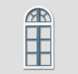 Fenetre en baie ronde avec des barres en forme ronde couleur: blanc; couleur des battants: bleu